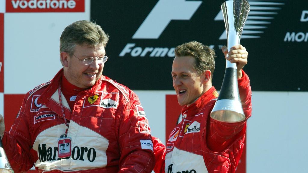 14.09.2003 Monza, Italien,F1 in Monza, Sonntag, VIP, Podium, Ross Brawn (Ferrari, Technischer Direktor, Technical Director), Portrait und Michael Schumacher (D, Ferrari) - Formel 1 Grand Prix (GP) von Italien 2003 (Autodromo Nazionale Monza, Italy) -