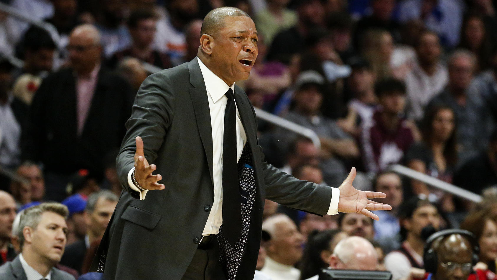 November 11, 2019, Los Angeles, California, U.S: Los Angeles Clippers head coach Doc Rivers reacts to a call during an