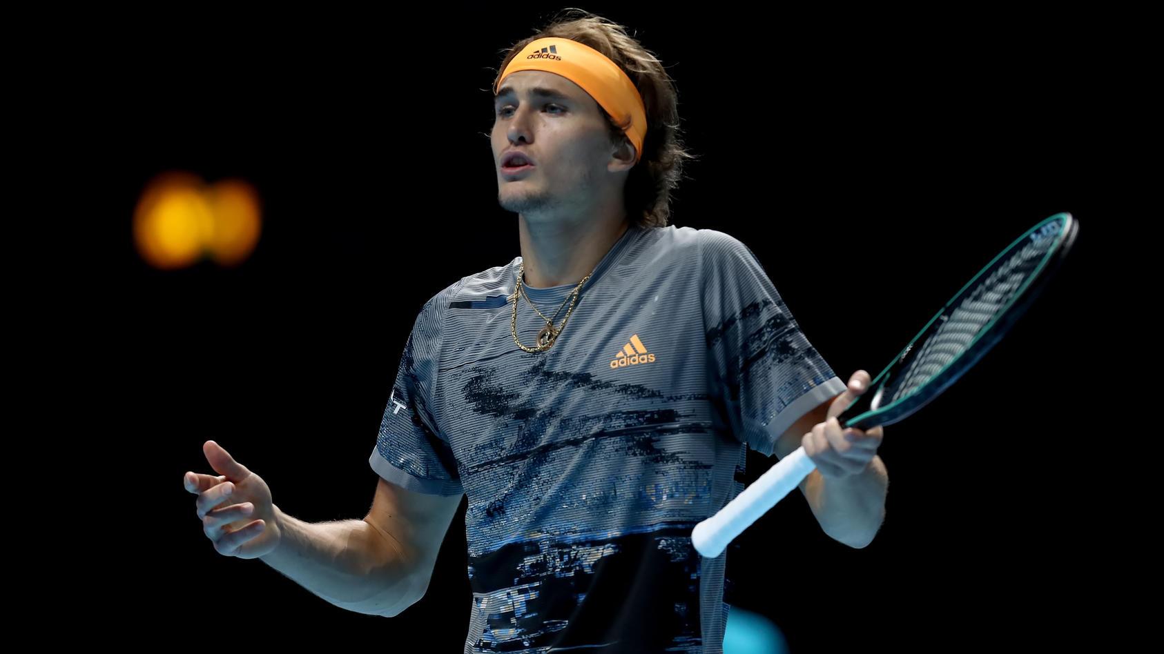 16th November 2019; 02 Arena. London, England; Nitto ATP, Tennis Herren Tennis Finals; A frustrated Alexander Zverev (Ge