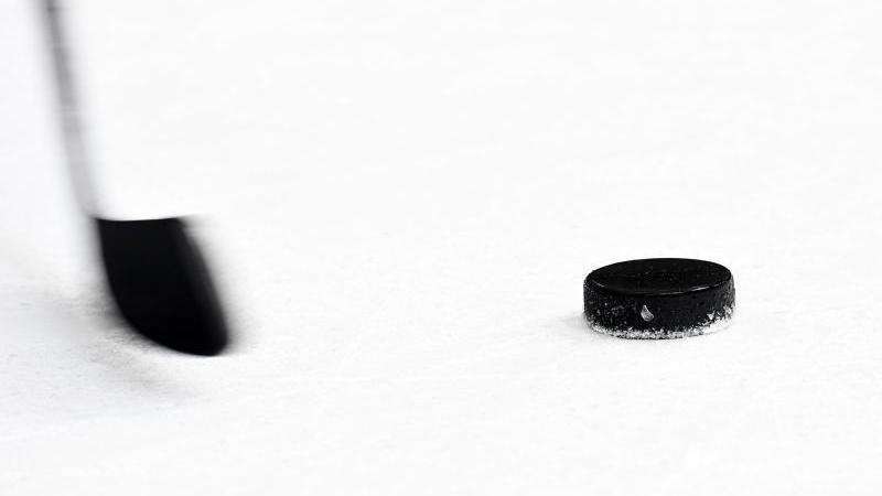 Ein Puck und ein Eishockeyschläger. Foto: Tobias Hase/dpa/Archivbild