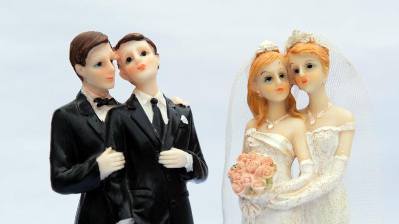 Zwei gleichgeschlechtliche Brautpaare als Tortenfiguren. Foto: Sebastian Kahnert/dpa-Zentralbild/dpa/Archivbild