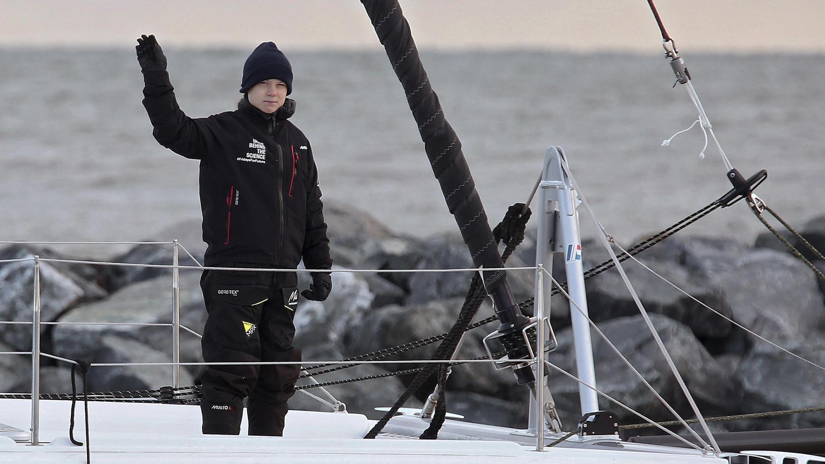 Klimaaktivistin Greta Thunberg ist noch auf dem Atlantik.