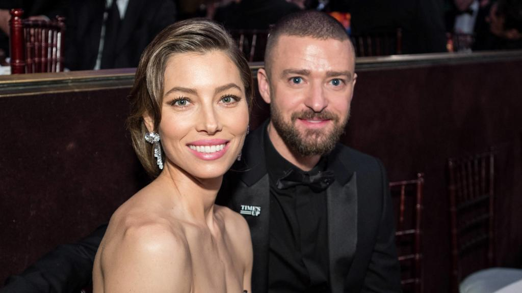 Nominated for BEST PERFORMANCE BY AN ACTRESS IN A LIMITED SERIES OR A MOTION PICTURE MADE FOR TELEVISION for her role in The Sinner, actress Jessica Biel and husband Justin Timberlake attend the 75th Annual Golden Globes Awards at the Beverly Hilton