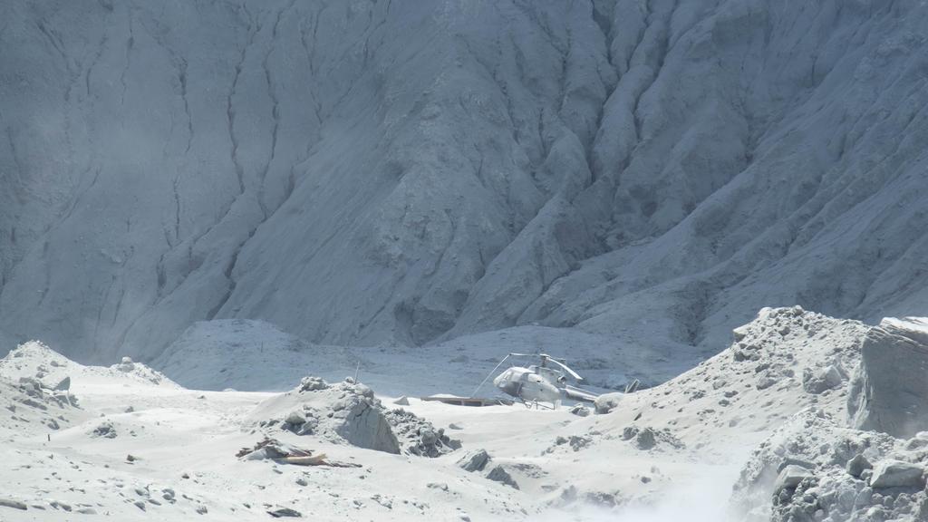 Der Vulkanausbruch hat die Landschaft mit Asche bedeckt