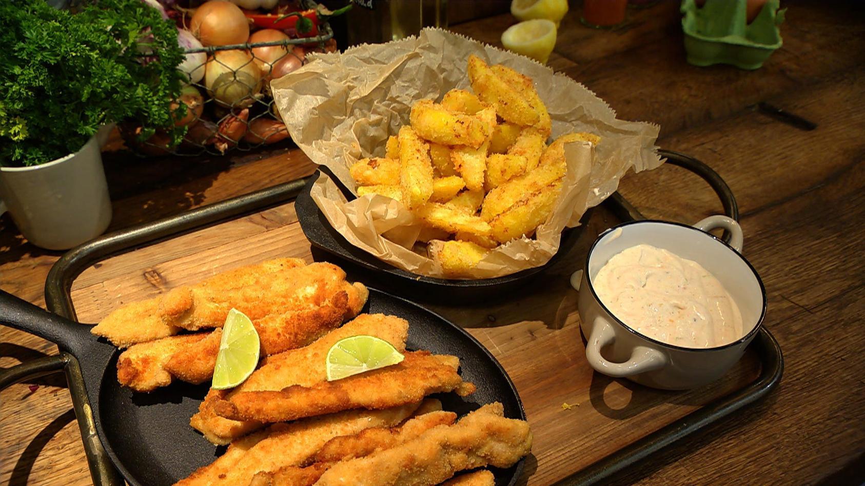 Frischekick! Alles mit Zitrusfrüchten: Mini-Schnitzel mit Limetten-Mayonnaise und Pommes-Deluxe