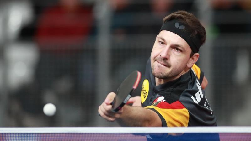 Timo Boll in Aktion bei der Tischtennis-EM. Foto: Remy Gros/dpa/Archivbild