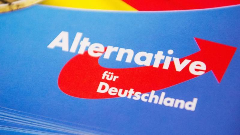 Das Logo der AfD erscheint auf einem Flyer. Foto: Christophe Gateau/dpa/Archivbild