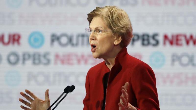 Die demokratische Bewerberin Elizabeth Warren während der jüngsten TV-Debatte der US-Demokraten. Foto: Chris Carlson/AP/dpa