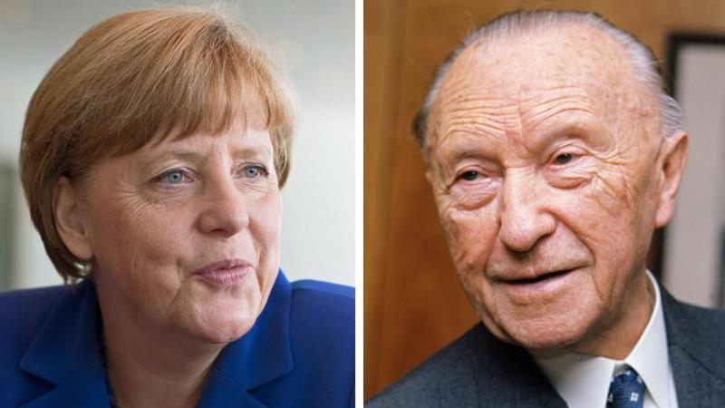 Die Bildkombo zeigt Bundeskanzlerin Angela Merkel (l, CDU, am 02.06.2015 in Berlin) und den ehemaligen CDU-Vorsitzenden Bundeskanzler Konrad Adenauer (Anfang 1966 in Bonn). Foto: Roland Witschel/Kay Nietfeld/dpa