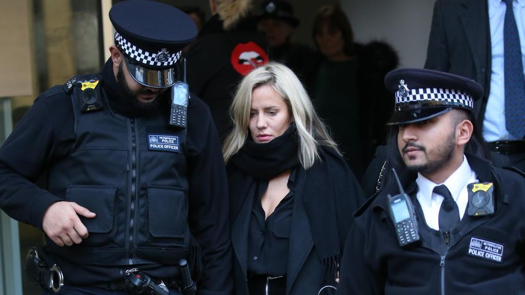 Caroline Flack leaving Highbury Corner Magistrates Court in London.