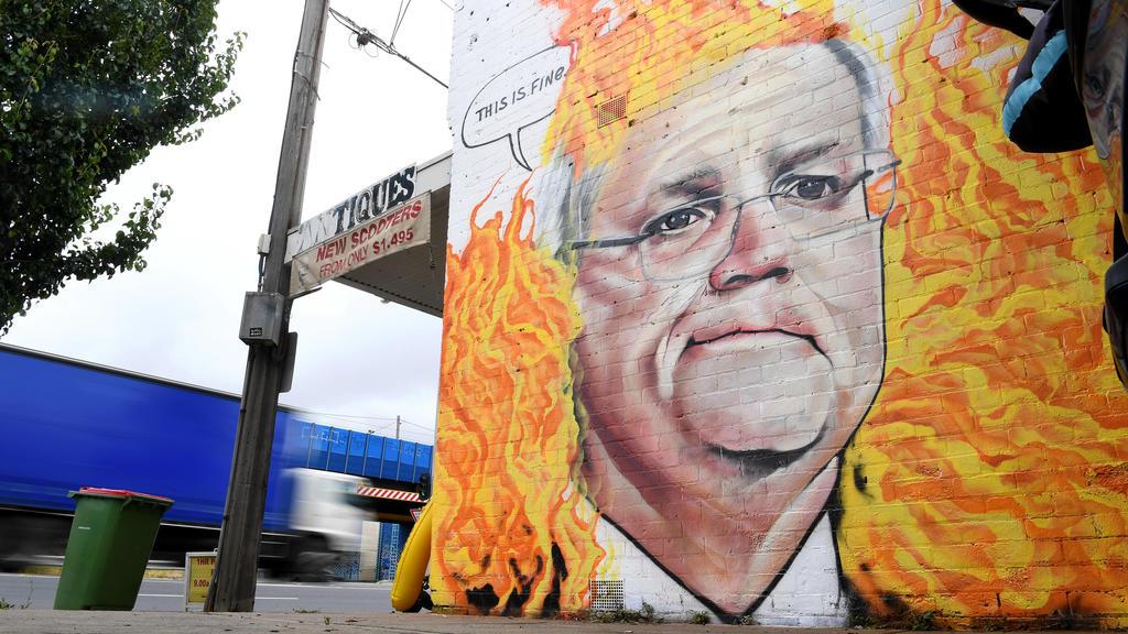SCOTT MORRISON MURAL MELBOURNE, A mural depicting Australian Prime Minister Scott Morrison among bushfire flames is seen in Tottenham, Melbourne, Tuesday, January 7, 2020. Scott Morrison s handling of the Australian Bushfire crisis has been widely c