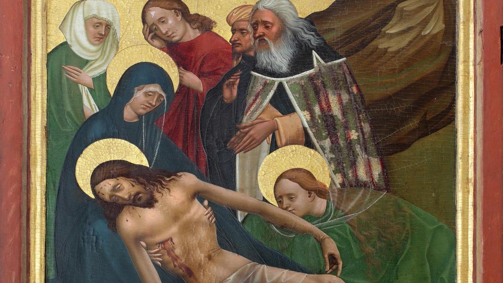 Maria und einige andere Frauen waschen Jesus nach seinem Tod