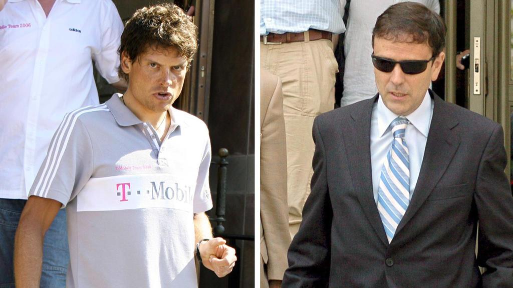 ARCHIV - Die Bildkombo zeigt den ehemaligen T-Mobile-Radprofi Jan Ulrich in Blaesheim (l, Archivfoto vom 30.06.2006)  und den spanischen Arzt Eufemiano Fuentes in Madrid (r, Archivfoto vom 20.07.2006). Ullrich gerät im spanischen Doping-Skandal immer
