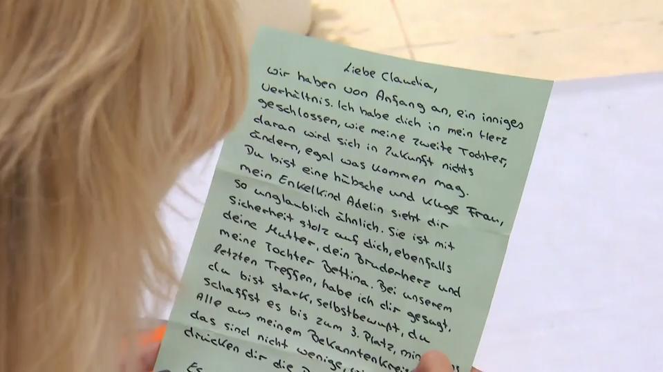 Diesen Brief hat Claudia von Michael Wendlers Mutter bekommen.