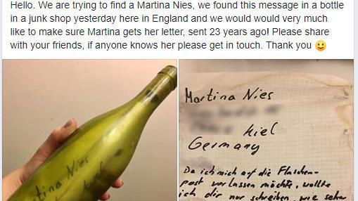 Flaschenpost war 23 Jahre lang unterwegs.