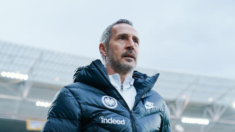 Frankfurts Trainer Adi Hütter. Foto: Uwe Anspach/dpa/Archivbild
