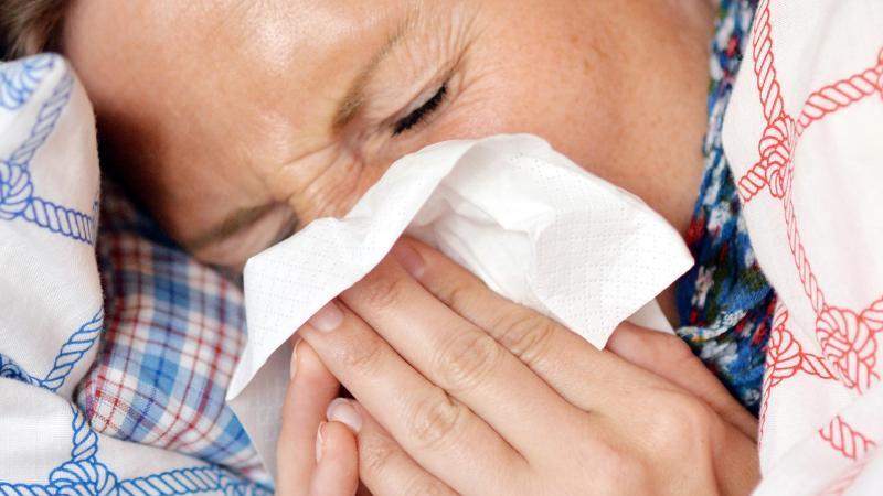 Eine Frau liegt im Bett und putzt sich die Nase. Foto: Maurizio Gambarini/dpa/Archiv/Illustration