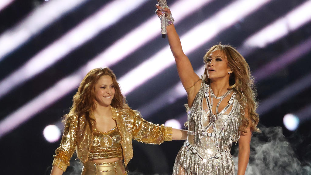 Shakira and Jennifer Lopez perform onstage during the Pepsi Super Bowl LIV Halftime Show at Hard Rock Stadium on February 02, 2020 in Miami, Florida.Pictured: Shakira and Jennifer LopezRef: SPL5144930 020220 NON-EXCLUSIVEPicture by: Chris Victorio/im
