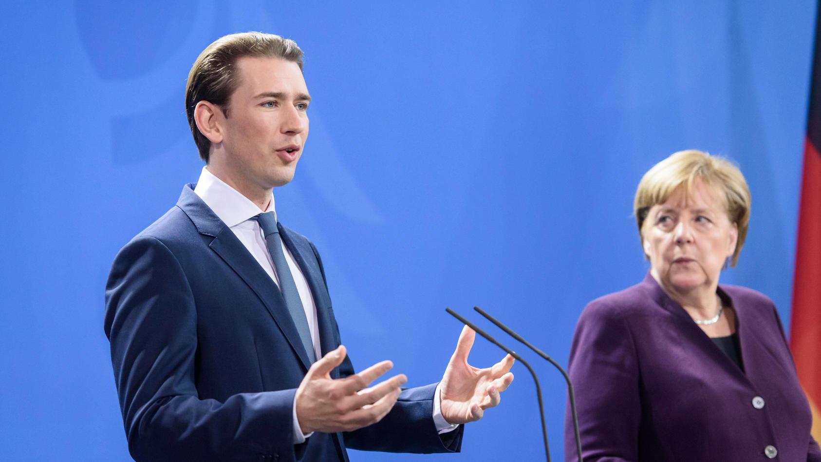 Berlin, Angela Merkel trifft Sebastian Kurz