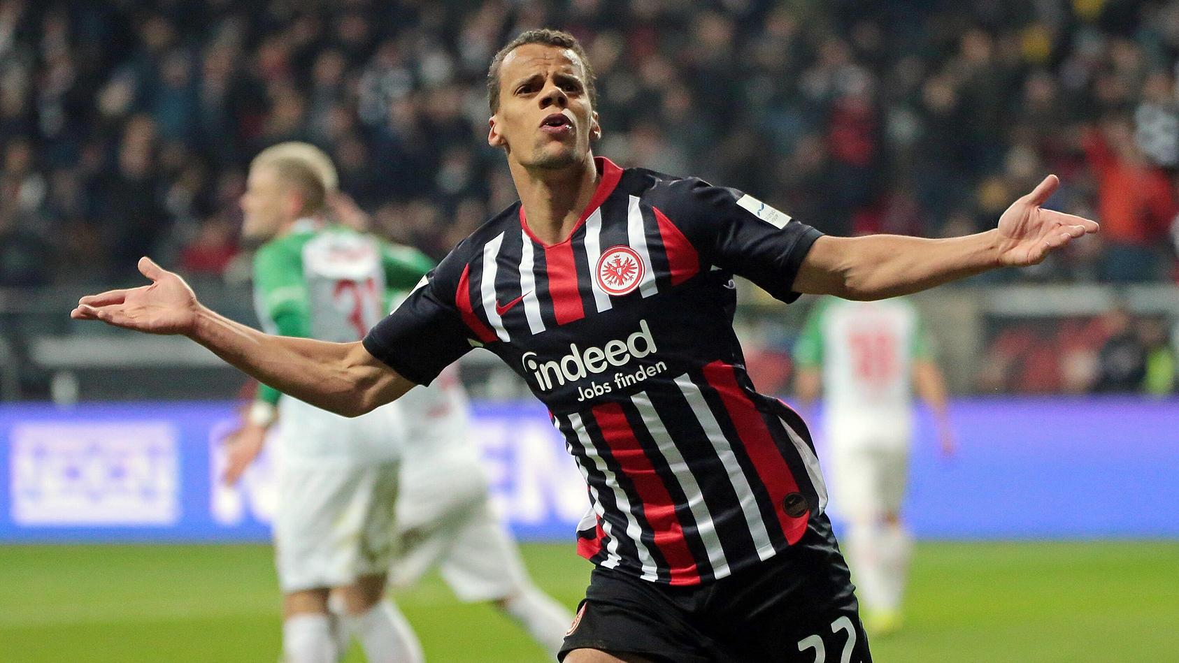 07.02.2020, xovx, Fussball 1.Bundesliga, Eintracht Frankfurt - FC Augsburg emspor, Jubel bei Timothy Chandler (Eintracht