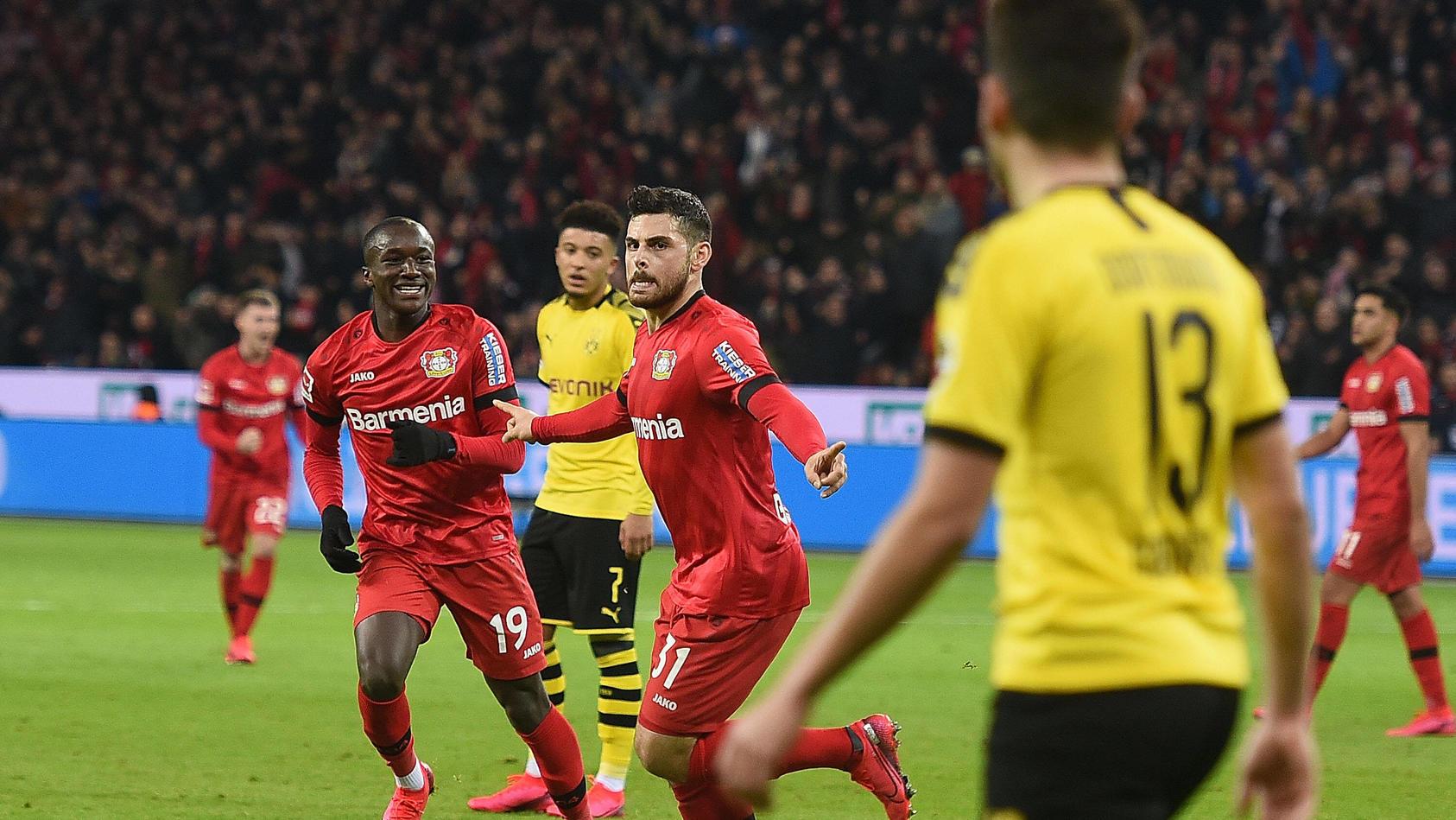 08.02.2020, xhbx, Fussball 1.Bundesliga, Bayer 04 Leverkusen - Borussia Dortmund emspor, v.l. Torjubel, Goal celebratio