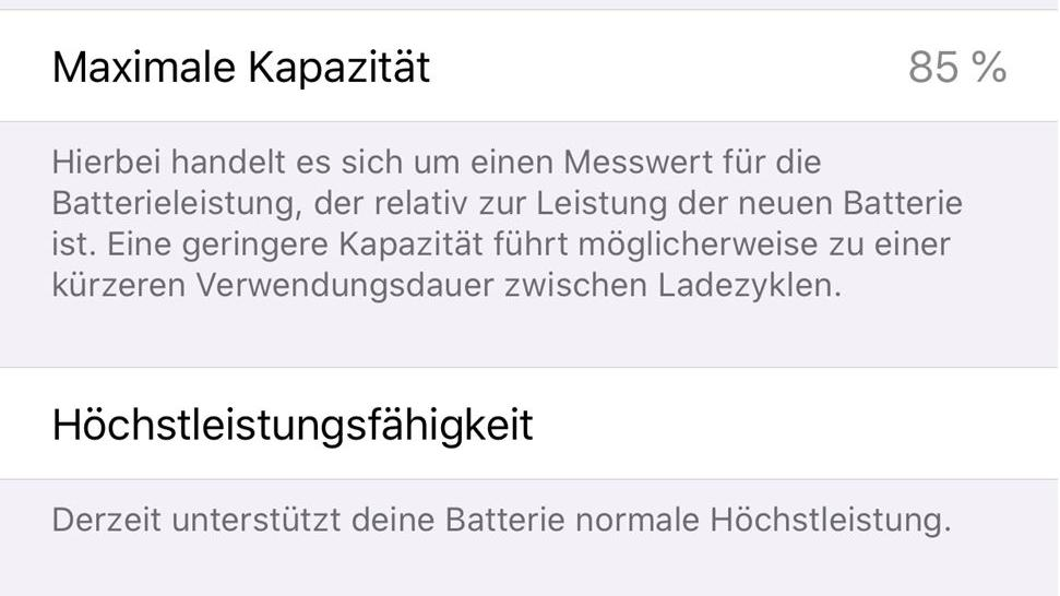 Apple iPhone Batteriezustand