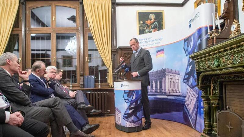 Friedrich Merz (CDU, r)spricht in der Villa Toepffer zu den Gästen. Foto: Klaus-Dietmar Gabbert/dpa-Zentralbild/dpa