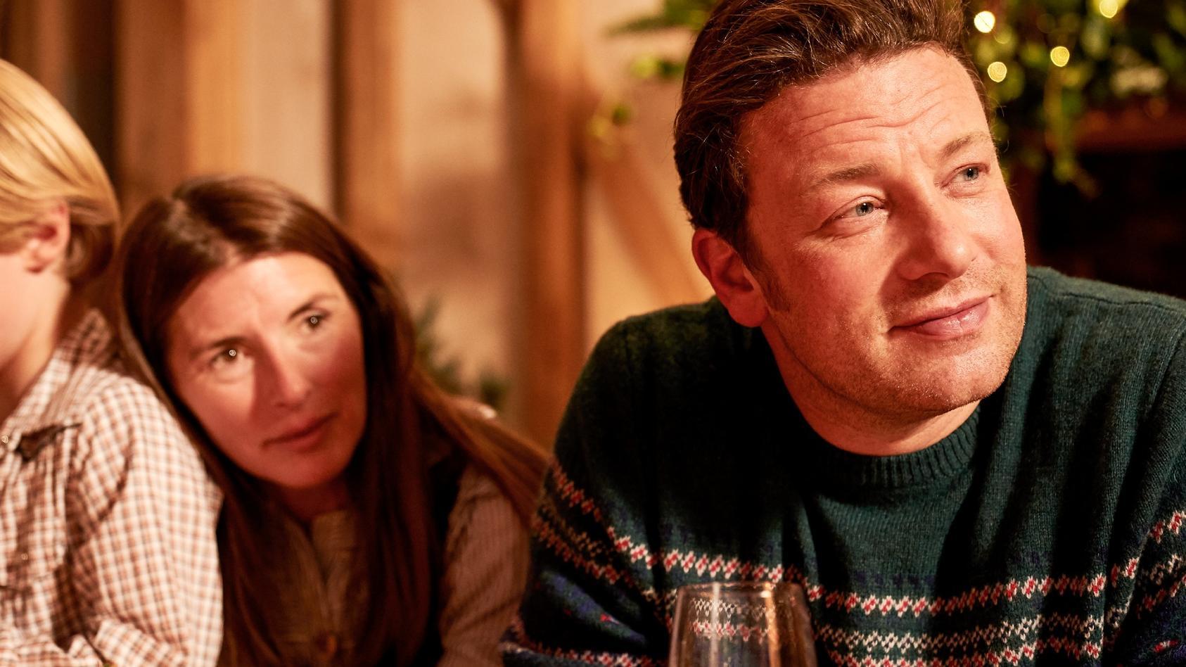 Jamie Oliver (r.) mit Jools Oliver.