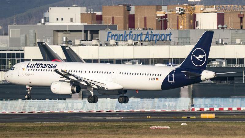 Ein Lufthansa-Jet landet auf dem Frankfurter Flughafen. Foto: Frank Rumpenhorst/dpa