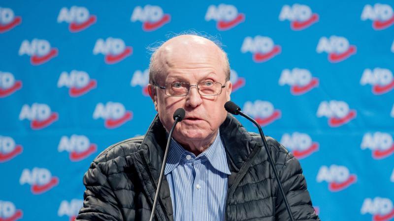 Manfred Schmidt (AfD) hält eine Rede. Foto: picture alliance / Hauke-Christian Dittrich/dpa/Archivbild