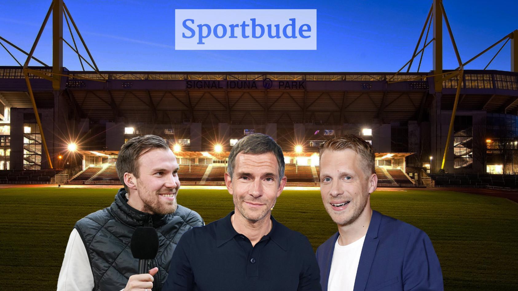 """Zu Gast in der """"Sportbude"""": Kevin Großkreutz, Micky Beisenherz und Oliver Pocher (v.li.)."""
