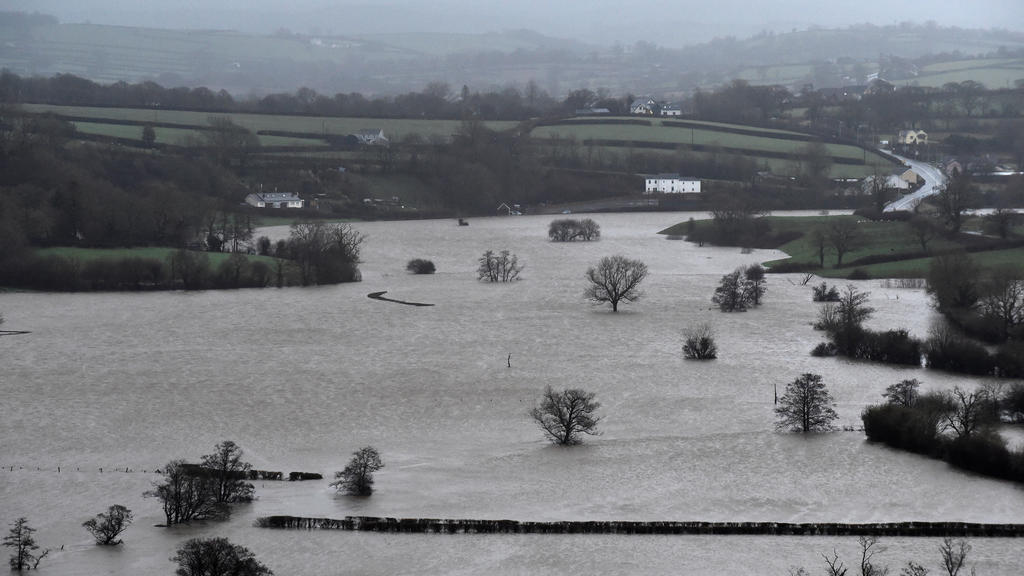 A view of fields flooded near St Clears, Pembrokeshire, South Wales, Britain, February 16, 2020. REUTERS/Rebecca Naden