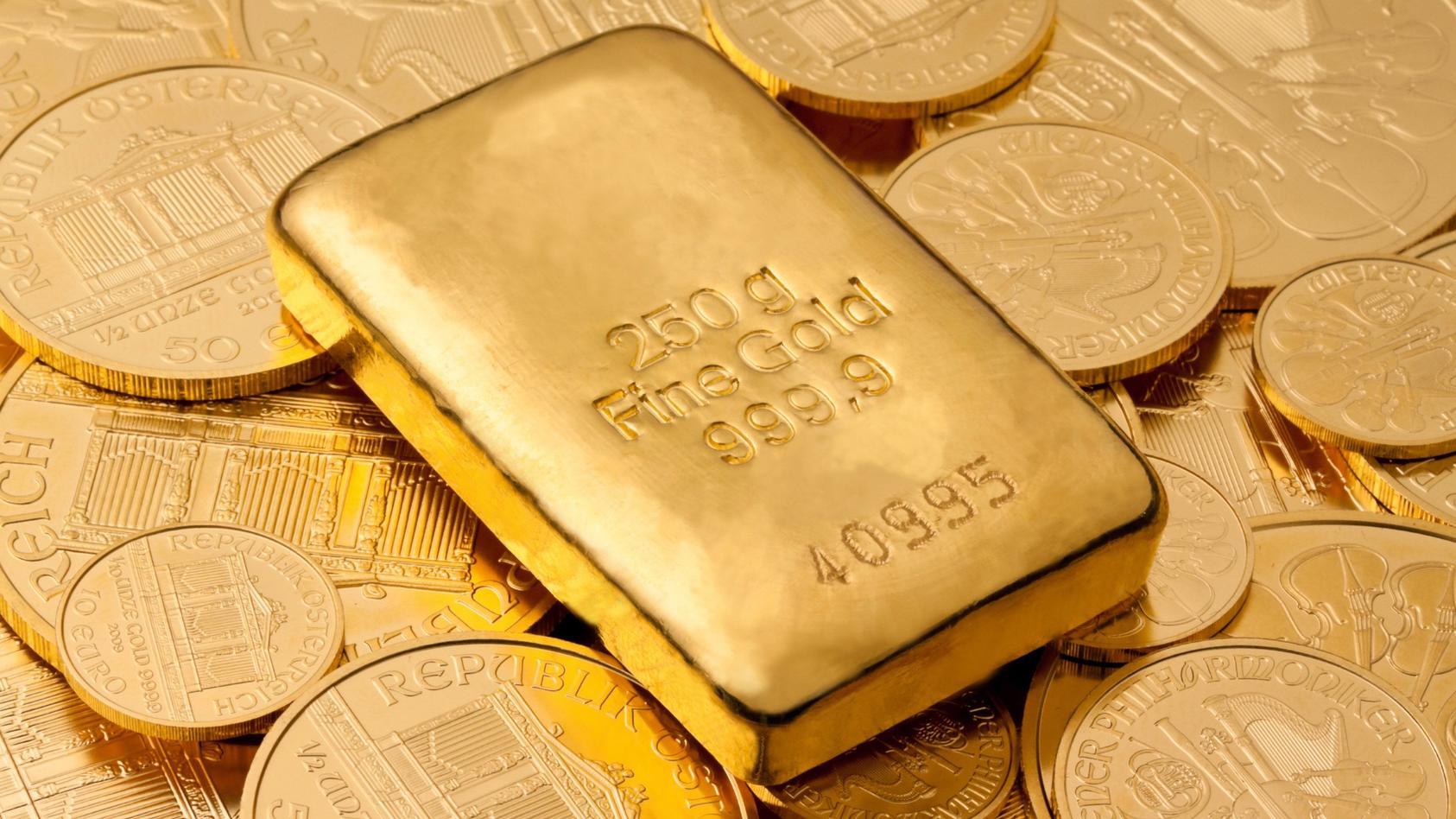 Geldanlage in echtem Gold als Goldbarren und Gold