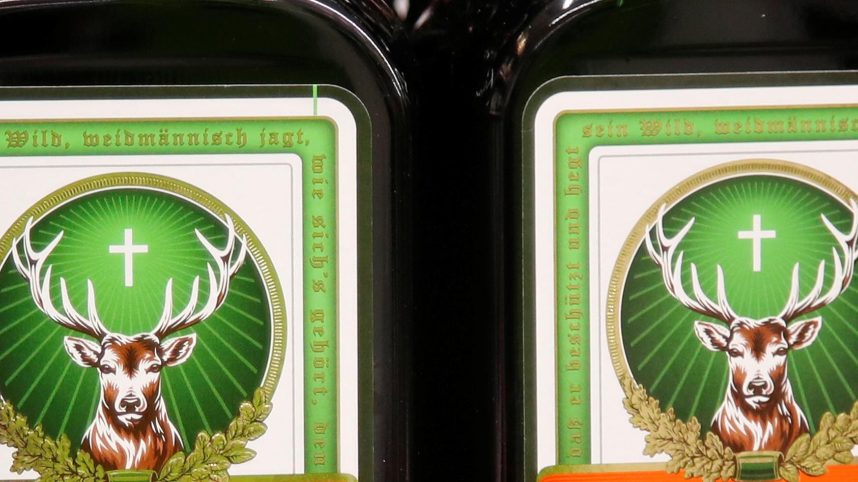 Bottles of Jaegermeister herbal liqueur are displayed in Zurich