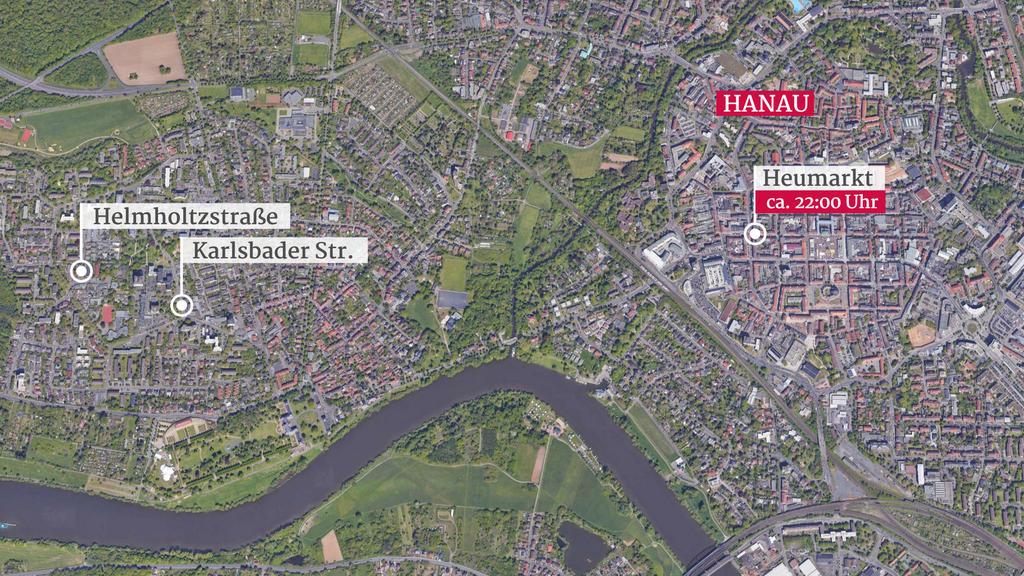 Überblick der Tatorte in Hanau