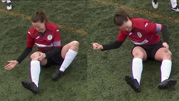 Fußballerin O'Toole hämmert sich ihr Knie zurück an die richtige Stelle.