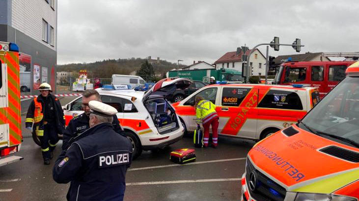 Emergency vehicles at the scene after a car ploughed into a carnival parade injuring several people in Volkmarsen, Germany February 24, 2020.     Elmar Schulten/Waldeckische Landeszeitung via REUTERS.      NO RESALES. NO ARCHIVES