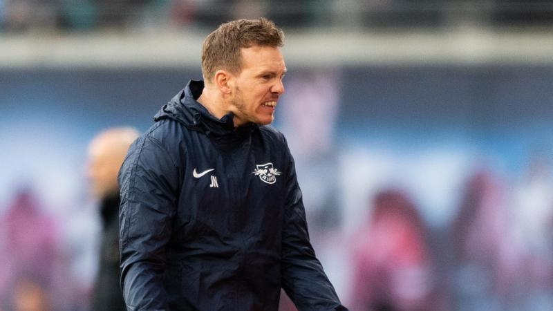 Leipzigs Trainer Julian Nagelsmann war mit der Leistung seiner Mannschaft sichtlich unzufrieden. Foto: Robert Michael/dpa-Zentralbild/dpa