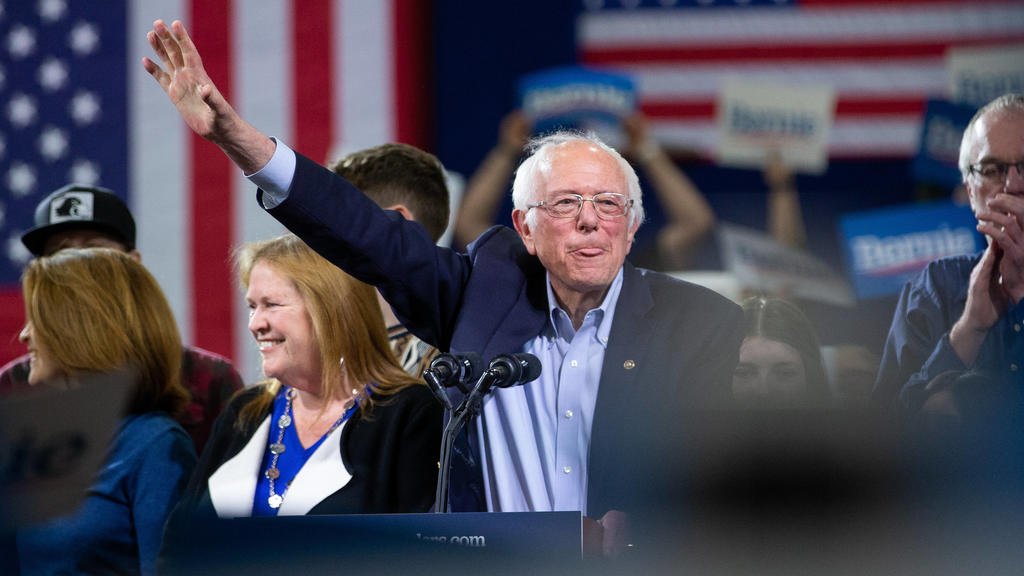 Democratic presidential candidate Sen. Bernie Sanders addresses the crowd during his Super Tuesday rally at the Champlain Valley Expo in Essex Junction, Vermont on Tuesday, March 3, 2020. Bernie Sanders won his home state of Vermont with former Vice