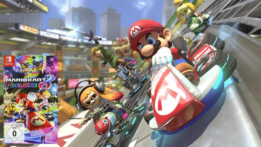 Mario Kart 8 Deluxe: Hier haben bis zu acht Spieler gleichzeitig Spaß.