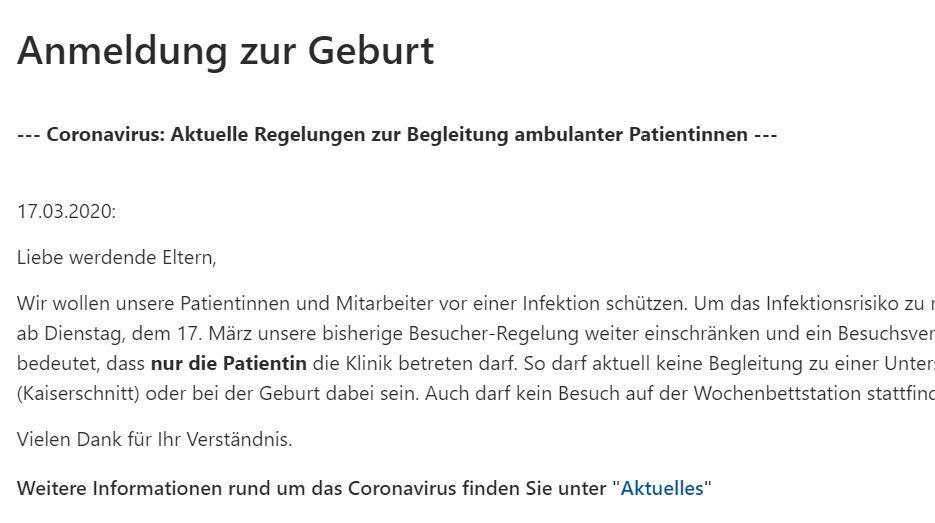 Screenshot Mitteilung Änderungen Coronavirus Uniklinik Bonn
