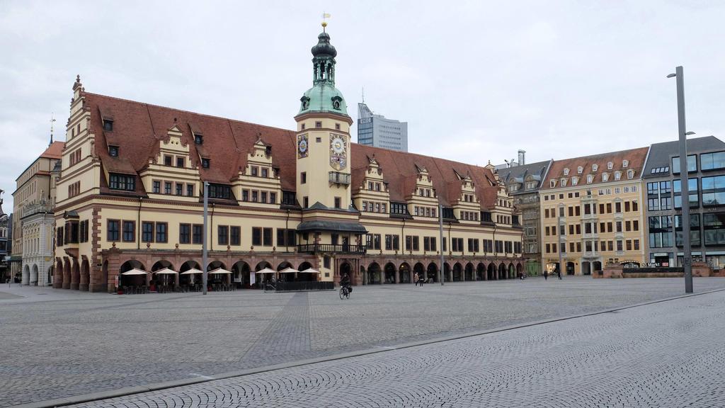 Leere Straßen und Plätze in Leipzig