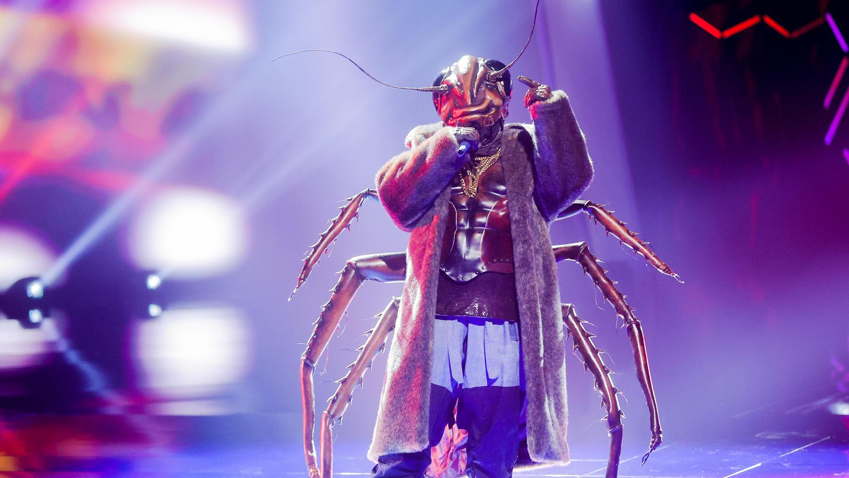 """Die """"Kakerlake"""" bei ihrem Auftritt in der Show """"The Masked Singer""""."""
