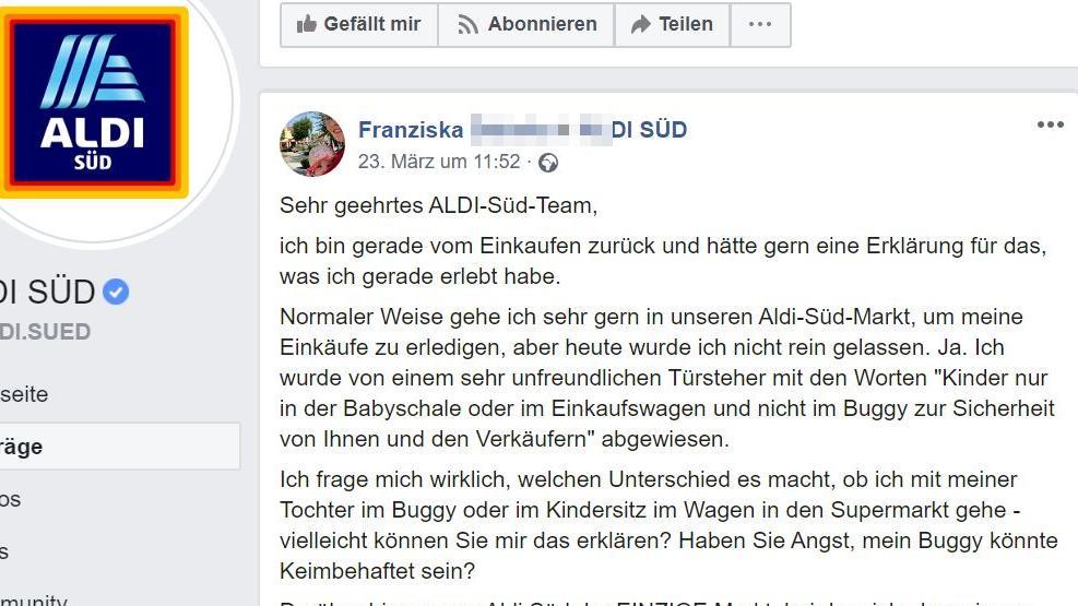 Facebookeintrag Mutter Aldi Süd