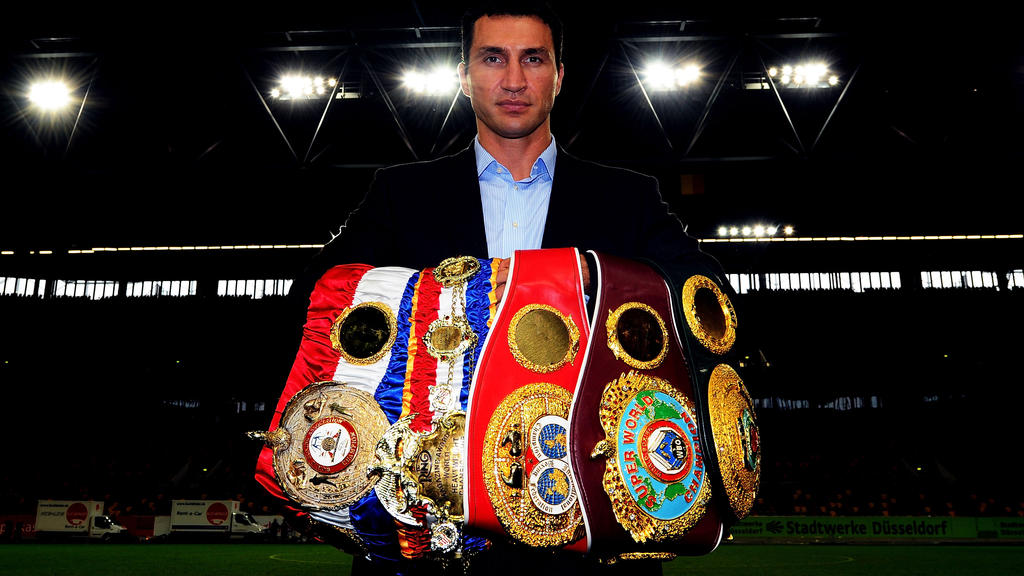 DUESSELDORF, GERMANY - OCTOBER 12:  Wladimir Klitschko of Ukraine pose with his championship belts after a press conference at Esprit-Arena on October 12, 2011 in Duesseldorf, Germany. The WBO, WBA, IBF and IBO heavy weight titel fight between Wladim
