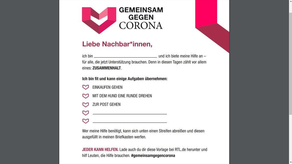 Handzettel Wir gegen Corona