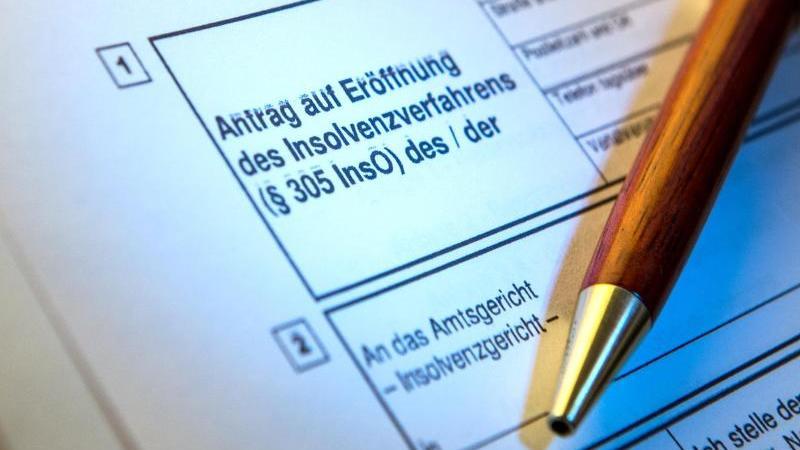 Ein Kugelschreiber liegt auf einem Antrag zur Eröffnung eines Insolvenzverfahrens. Foto: Alexander Heinl/dpa/Illustration