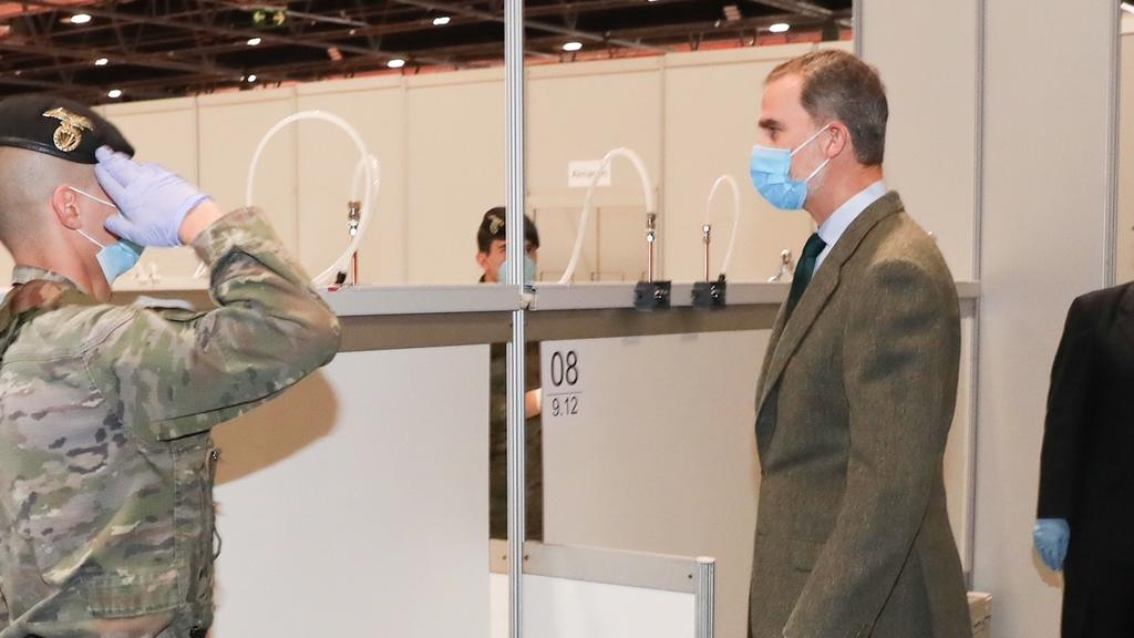 King Felipe VI of Spain visits field hospital in Ifema in Madrid on Thursday, 26 March 2020Pictured: King Felipe VIRef: SPL5159036 260320 NON-EXCLUSIVEPicture by: GTres / SplashNews.comSplash News and PicturesLos Angeles: 310-821-2666New York: 212-61