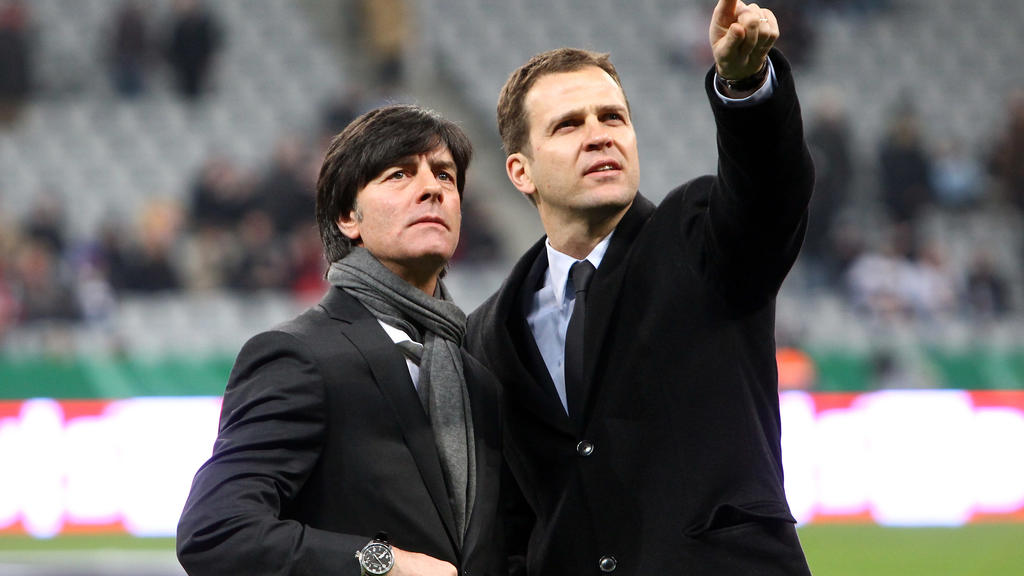 MUNICH, GERMANY - MARCH 03:  Joachim Loew (L), head coach of Germany and Oliver Bierhoff, team manager of Germany seen prior to the International Friendly match between Germany and Argentina at the Allianz Arena on March 3, 2010 in Munich, Germany.
