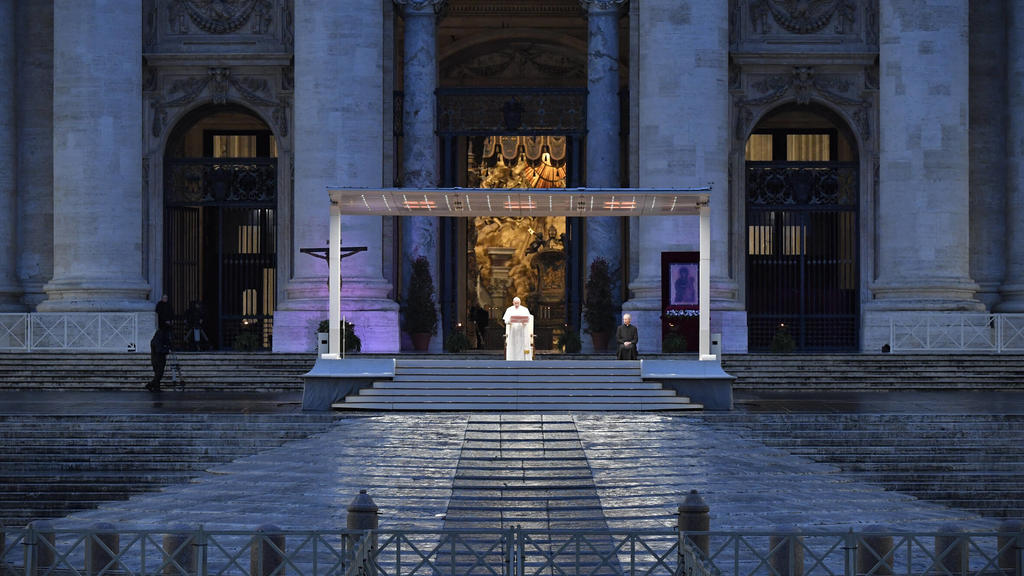 NO FRANCE - NO SWITZERLAND: March 27, 2020 : Pope Francis during Urbi and Orbi prayer Latin for To the City and To the World from an empty St. Peter s Square, at the Vatican, Friday EDITORIAL USE ONLY. NOT FOR SALE FOR MARKETING OR ADVERTISING CAMPA